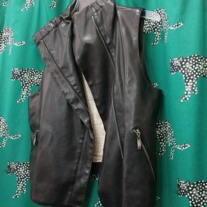 Vintage leather vest with zippers